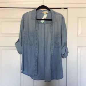 NWT XL Cloth & Stone Alanis Button Front Top